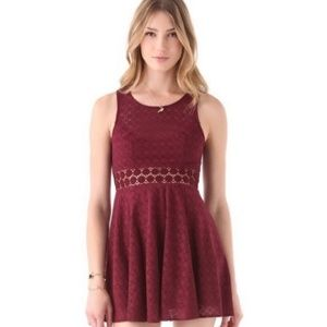 Free People Daisy Lace Skater Flare Burgundy 2